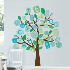 Adesivo Removível Árvore Gigante ABC Azul