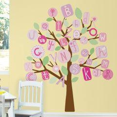 Adesivo Removível Árvore Gigante ABC Rosa