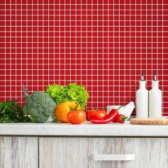Adesivo para Azulejo - Pastilha Lisa Vermelha