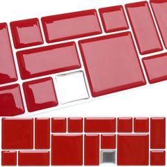 Faixa Pastilha Adesiva Resinada - Geo Vermelha / Prata