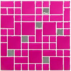 Pastilha Adesiva Resinada - Geo Pink / Prata