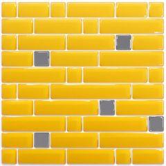 Pastilha Adesiva Resinada - Stripes Amarela / Prata