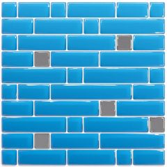 Pastilha Adesiva Resinada - Stripes Azul-Céu / Prata