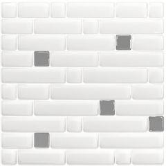 Pastilha Adesiva Resinada - Stripes Branco / Prata