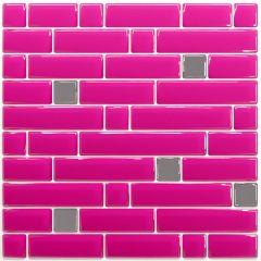 Pastilha Adesiva Resinada - Stripes Pink / Prata