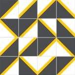 Adesivo para Azulejo - Retrô 03 Cinza-Amarelo